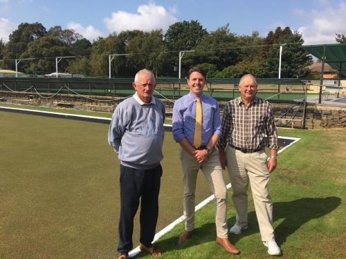 Inspecting the impressive greens at the Deloraine Bowls Club