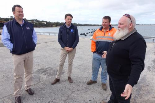 With Senator Bushby inspecting the Lady Barron wharf on Flinders Island