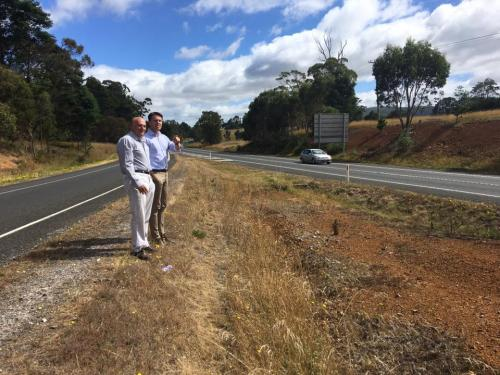Inspecting the West bound Deloraine exit onto the Bass Highway