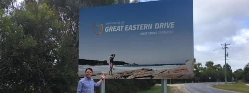 Checking out the Great Eastern Drive billboard