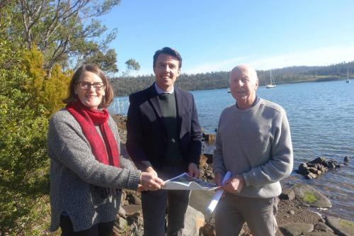 With Mayor Roseanne Heyward from the Tasman Council and community member Bob Millington, to announce funding for a new deep-water jetty in Murdunna