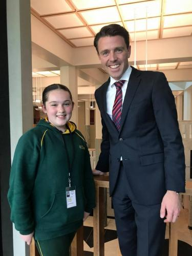 With St Cuthberts School captain Maddy during her visit to Canberra
