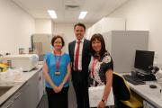 Receiving a tour from Professor Alison Venn, Director of the Menzies Medical Research Institute of Tasmania
